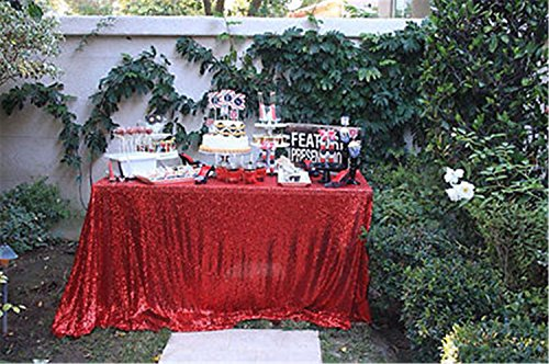 """TRLYC 60"""" 102"""" Shimmer Tablecloth for Wedding and Party Red"""