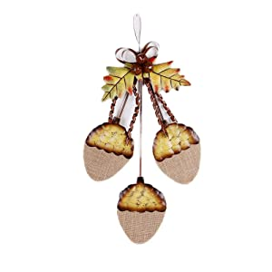 WHY Decor Fall Decor Decorative Hanging Acorn Cluster for Front Door Home Decor Wall Art Decor Metal Acorn Chic Acorn Cluster Decor for Christmas Fall Harvest Thanksgiving 15.8 x 9.3