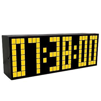 LambTown Noche Dormitorio del Reloj Digital LED de Luz con Alarmas Termómetro Calendario - Amarillo