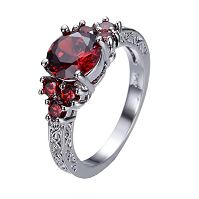 Bamos Jewelry White Gold Plated Red Lab Stone Best Friend Engagement