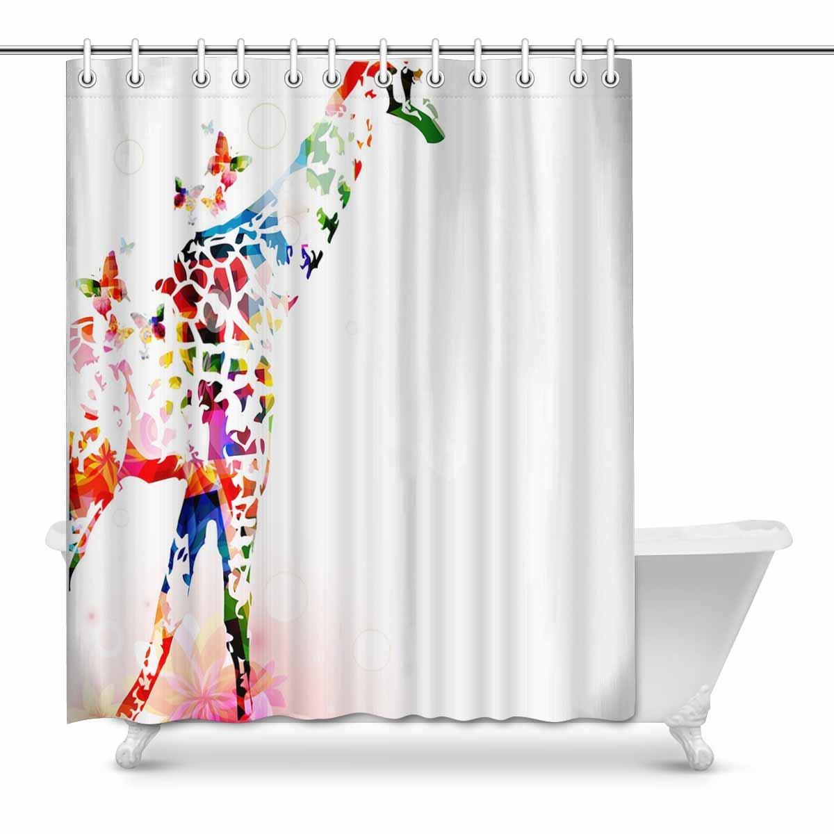 interestprint Giraffe at Lakeファブリック浴室シャワーカーテンフック付きインテリアセット 60 W x inches 72 全品最安値に挑戦 72l マルチ4 X 希少 B07BFRMRJH