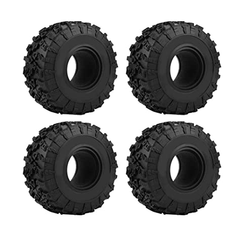 Dilwe RC Ruedas de Neumáticos, 4 Pieces 130mm Neumáticos de Goma con Espuma Instert para