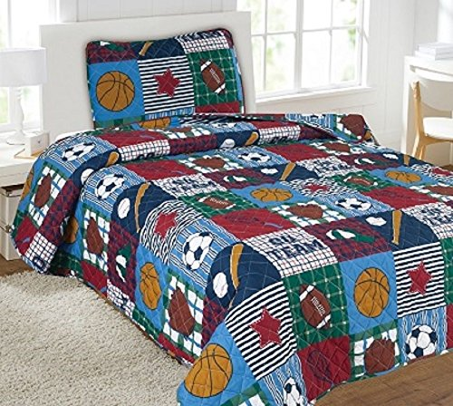 Twin Rugby Printed Quilt Bedding Bedspread Coverlet Pillow Case 2Pc