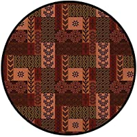 Printing Round Rug,Native American Decor,Ethnic Style Geometric Folk Design Decorative Mat Non-Slip Soft Entrance Mat Door Floor Rug Area Rug For Chair Living Room,