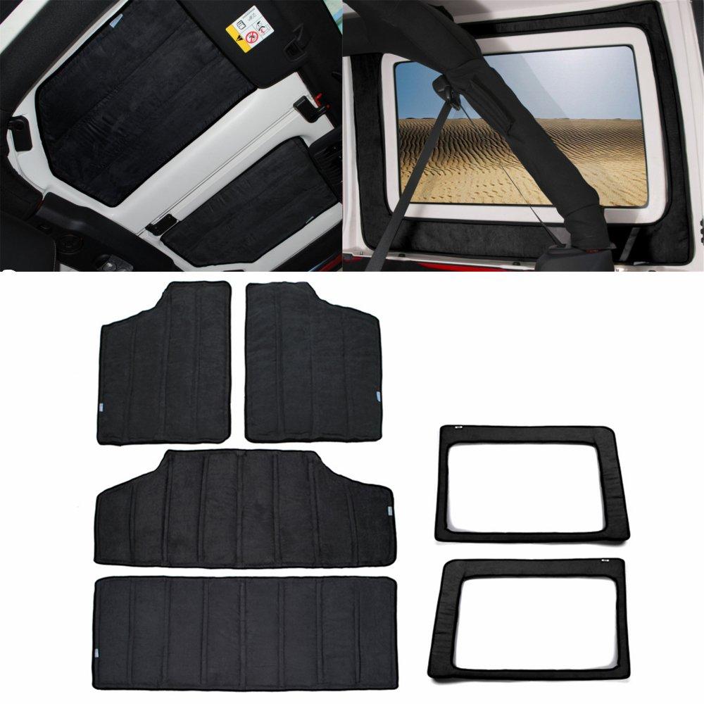 YOCTM For Jeep Wrangler JK Headliner Hardtop Insulation 4 Door 2012-2017 Rear Window and Ceiling Roof Heat Insulation Cotton Kit Car Styling Accessories (Black)