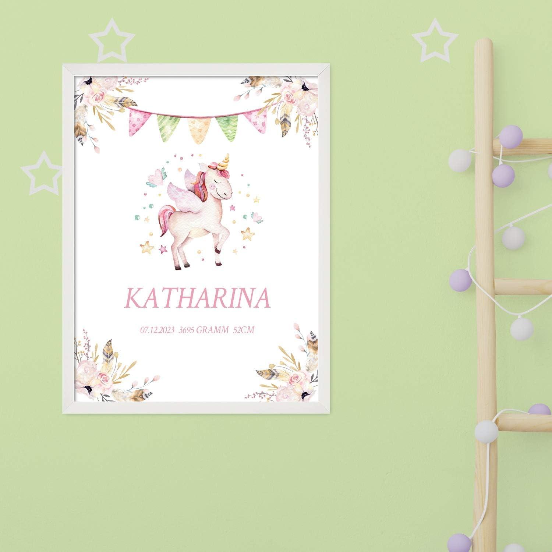 wei/ß zur Baby Geburt oder Taufe Motiv Einhorn f/ür M/ädchen Poster 40x30 cm mit Wunsch-Name und Datum Personalisiertes Geschenk BILD MIT RAHMEN