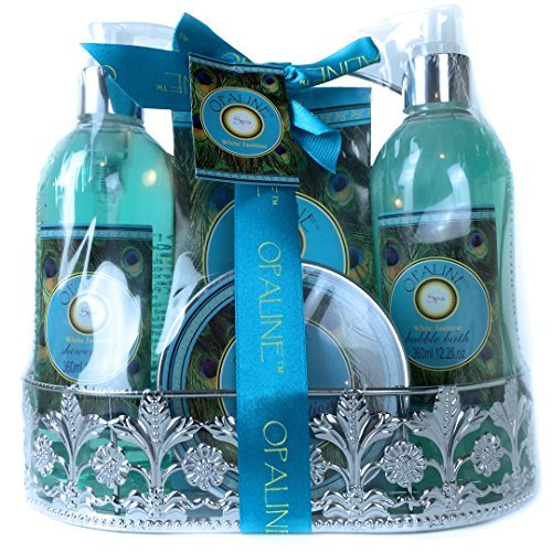 Peacock White Jasmine 4 pc Premium Bath Spa Gift Set - Shower Gel, Body Lotion, Bubble Bath, Bath Salt, in Metal Caddy