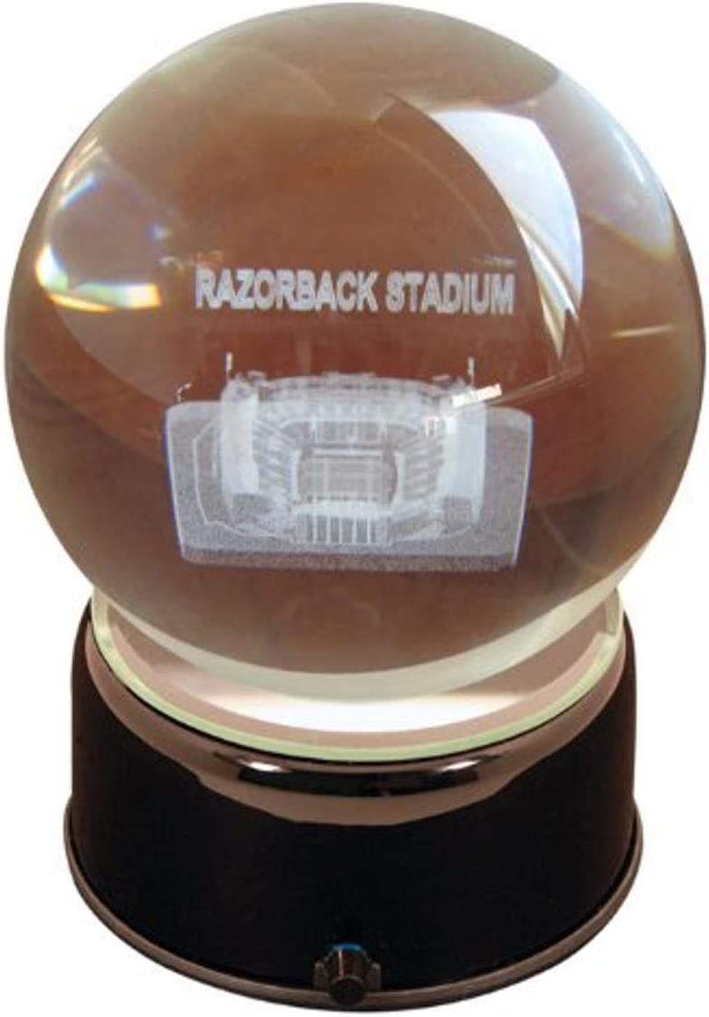 NCAA Arkansas Razorbacks War Memorial Stadium Razorbacks Etched Lit Musical Turning Crystal Ball