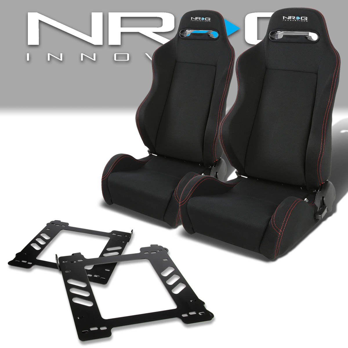 Pair of RSTRLGBK Racing Seats+Mounting Bracket for BMW E36 3-Series Coupe Auto Dynasty