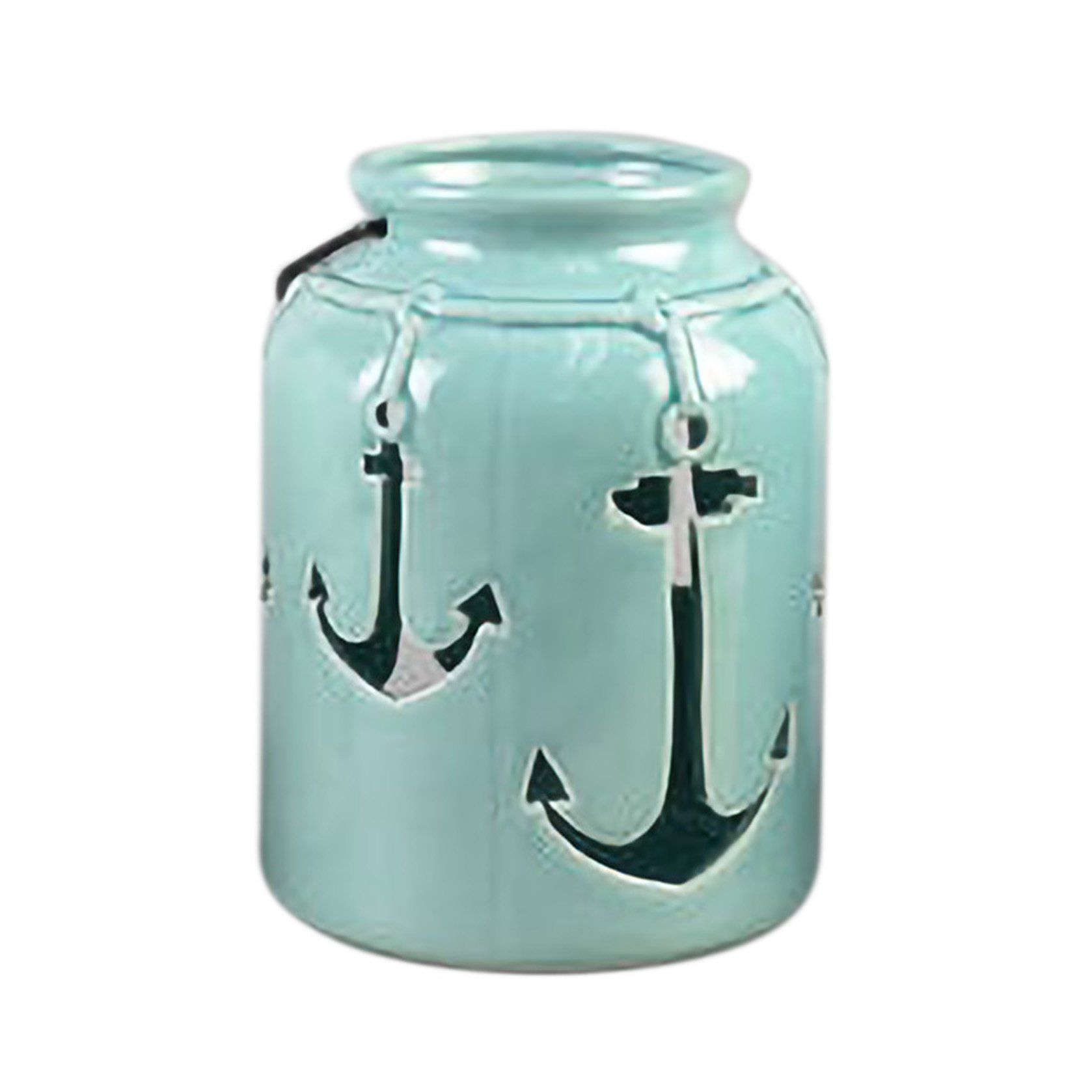 Drew DeRose Glossy Light Blue Nautical Anchor 8 x 5 Ceramic Tabletop Lantern With Handle