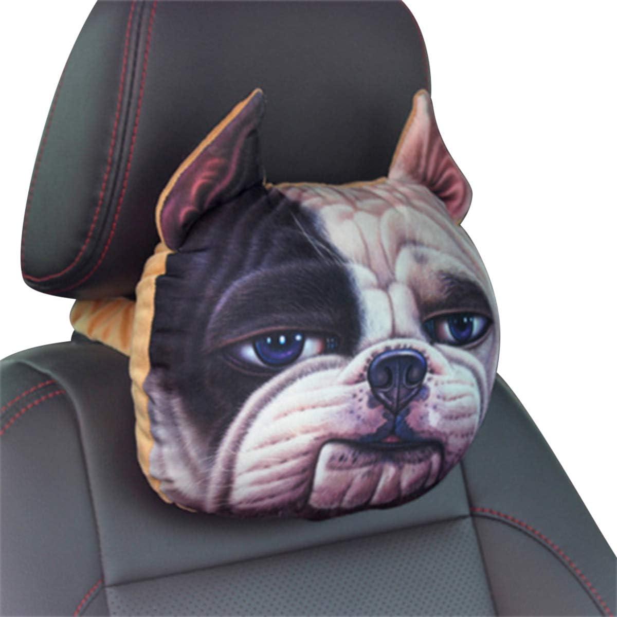 SUVs Trucks Ergocar Car Neck Pillow Cute Cartoon Dog Head Car Headrest Cushion Activated Carbon Headrest Travel Pillow For Cars Travel Brown Cat