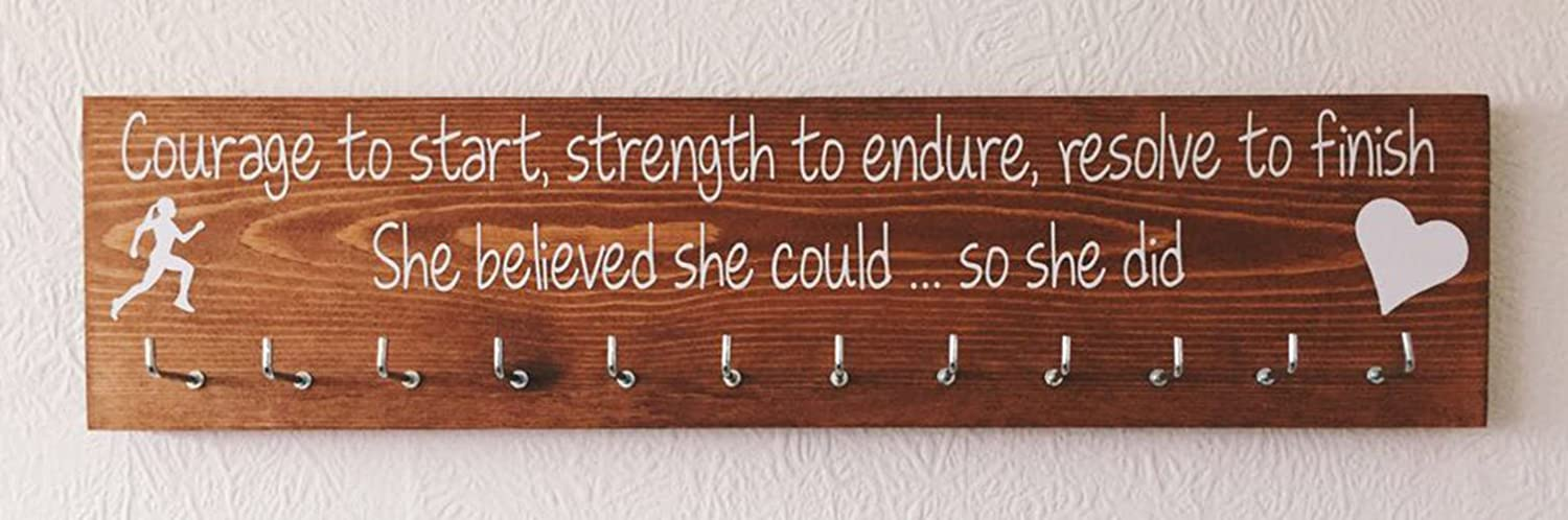 Running / Sports Medal display hanger. 12 hooks. Rosewood. Courage to start, My Big Heart font