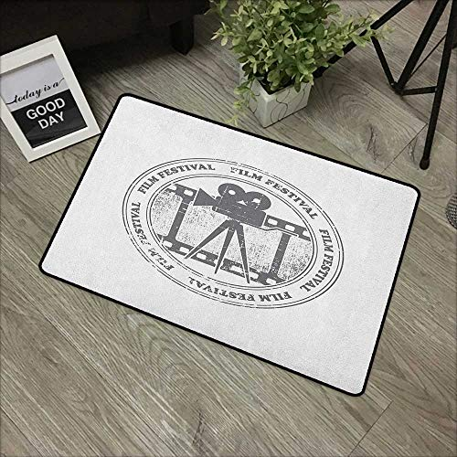 Clear Printed Pattern Door mat W24 x L35 INCH Movie Theater,Film Festival Grungy Round Stamp with an Antique Projection Camera Silhouette, Grey White with Non-Slip Backing Door Mat Carpet ()