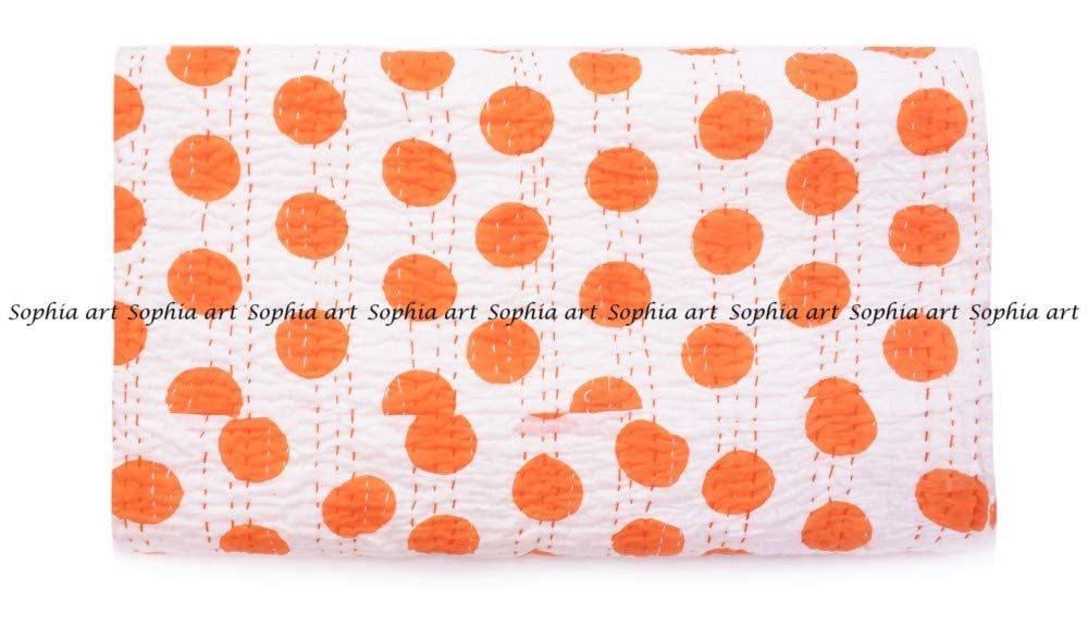 Handmade Pure Cotton Bedspread Queen Size Quilt Polka Dot Print Kantha Stitch Kantha Quilt Indian Bed Cover Kantha Bed Spread Throw Quilt (Orange)