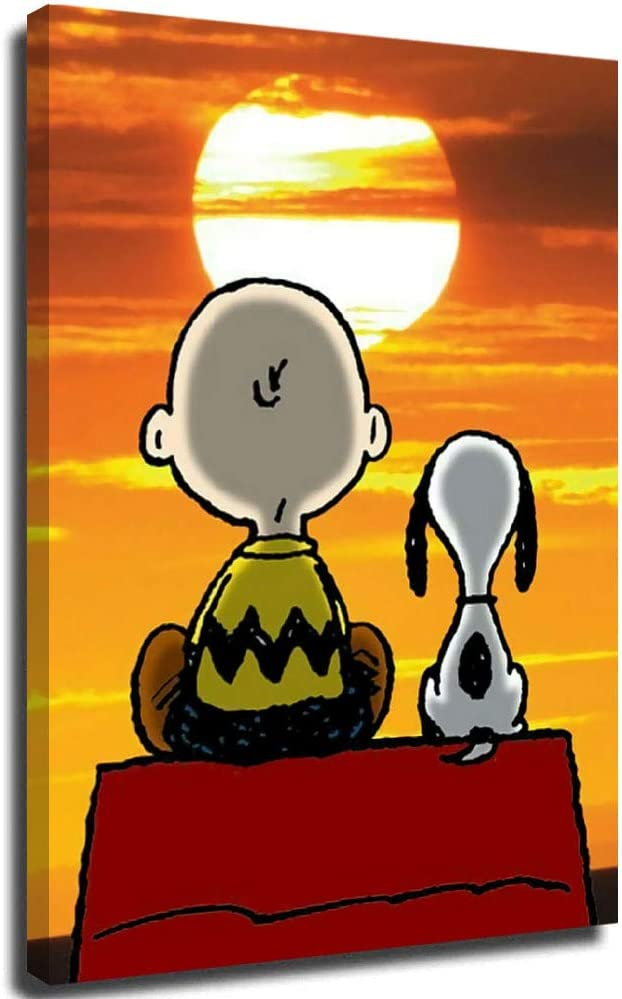 Snoopy Charlie Brown Watching The Sunset Side by Side Wall Art Picture for Living Room Home Decor for Living Room 12 x 16 Inch
