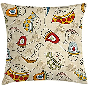 Ambesonne Modern Throw Pillow Cushion Cover, Trippy Leaf Figures with Swirl Lines Curves and Face Icons Creative Funky Graphic, Decorative Square Accent Pillow Case, 16 X 16 inches, Multicolor