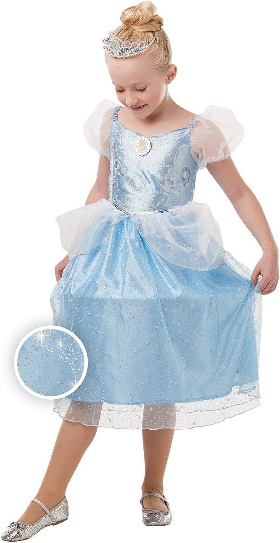 Rubie's - Disfraz oficial de Cenicienta de Disney con purpurina y brillo para niñas