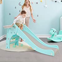 2-in-1 Kids Slides for Indoor Outdoors Use - Toddler Climber Slider Play Set w/Basketball Hoop, Home Playground Activity Center for Boys Girls, Perfect Toy Gift for Children, Easy Assembly (Green)