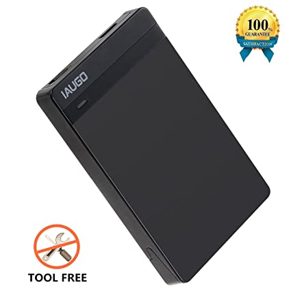 IAUGO Hard Drive Enclosure USB 3.0 External Hard Drive Disk Enclosure Case for 9.5mm 7mm 2.5 Inch SATA HDD and SSD,Tool-free,Transfer Support UASP ...