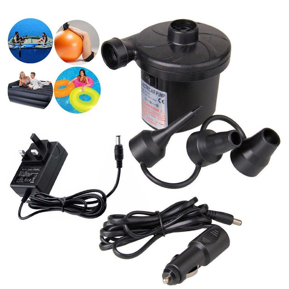 Fukalu Electric Air Pump Inflatables, Dual Powered Car DC 12V & Home AC 110V Electric Air Pump Quick Inflator Deflator Airbeds,Paddling Pools,Boats