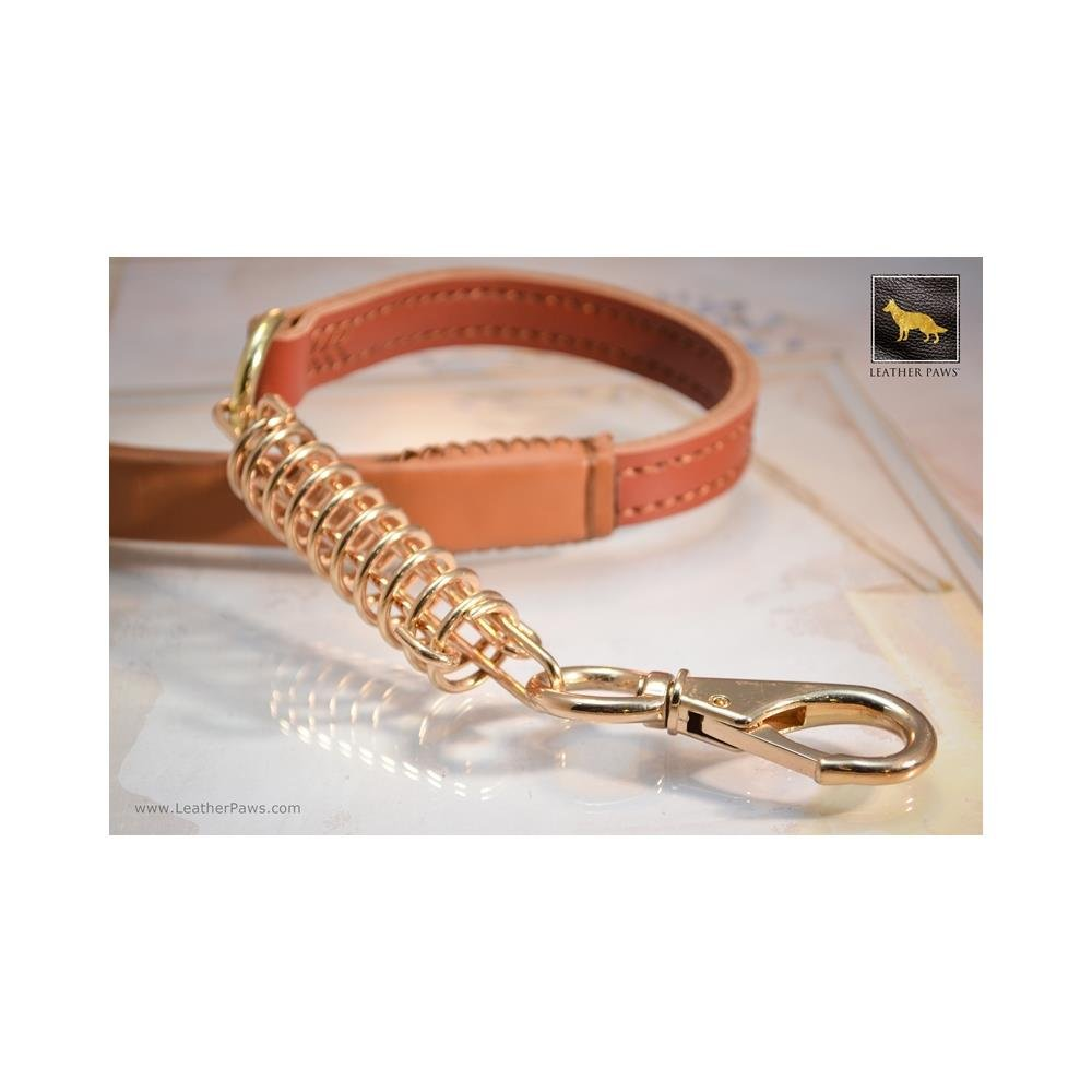 Light Brown Leather Paws 2 Feet golden Luxury Short Leather Leash