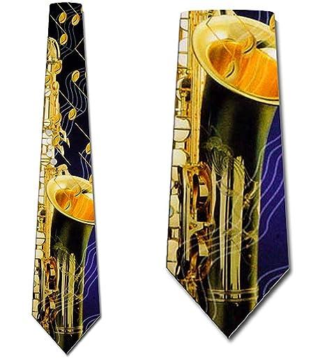 El saxofón y las notas musicales atan corbatas para hombre de ...