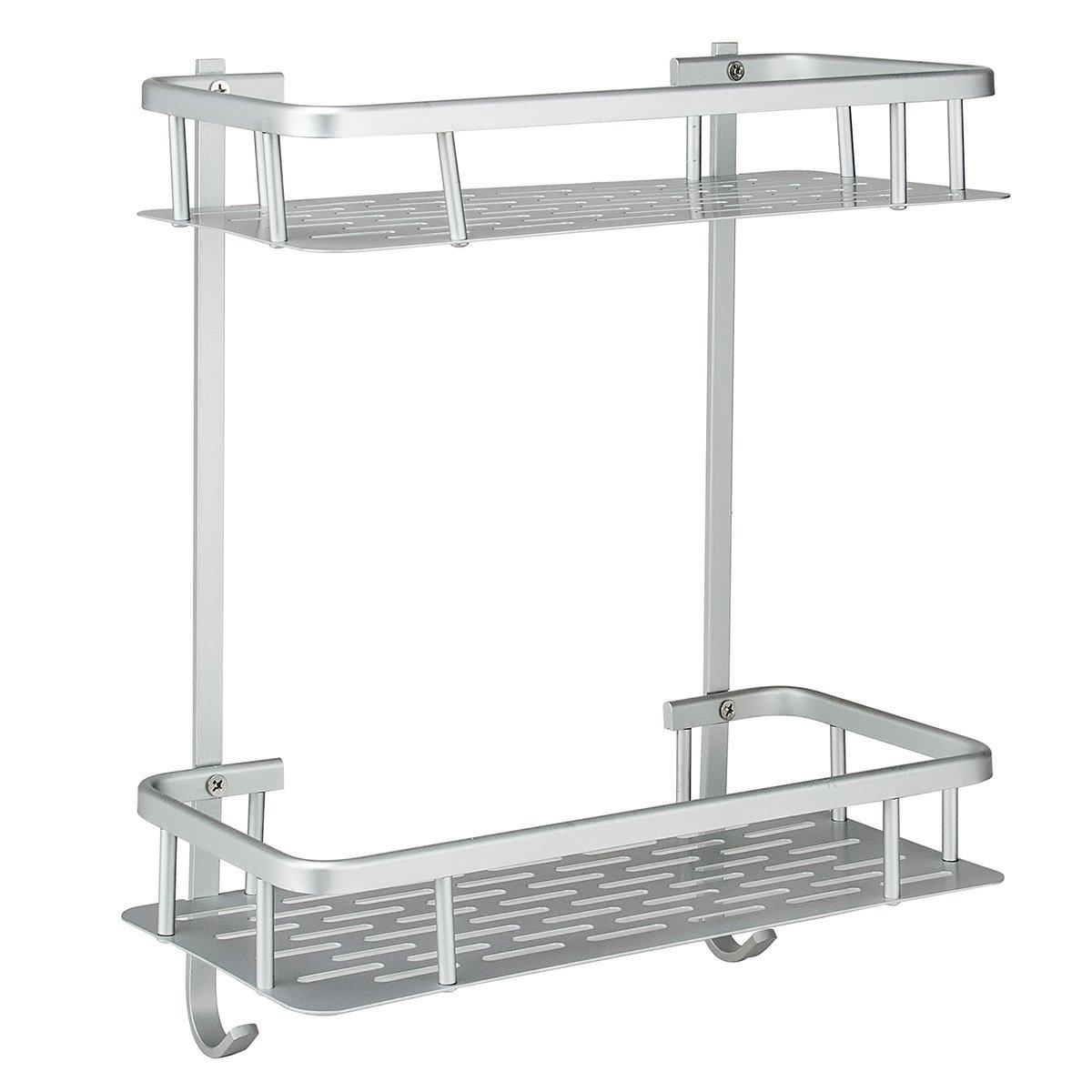 Deekec Shelf (No Drilling) Durable Aluminum 2 Tiers Shower Storage Caddy Towel Bar Basket Kitchen Corner Sticky No Drills Shelves (Bathroom Shelf 2 Tiers-Rectangle)