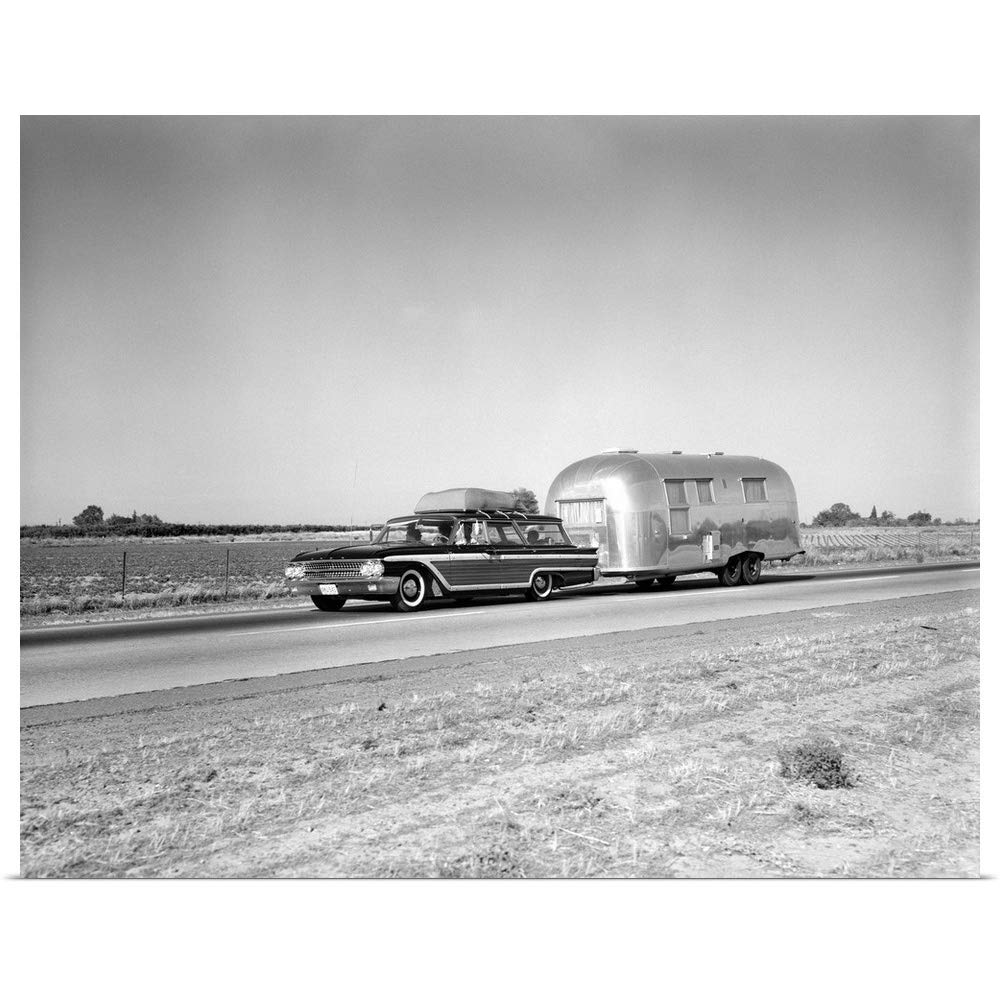 Great Big Canvas Poster Print Entitled 1960s 1970s 19601970 Mercedes Benz Trucks Family Station Wagon And Camping Trailer 20x16 Posters Prints