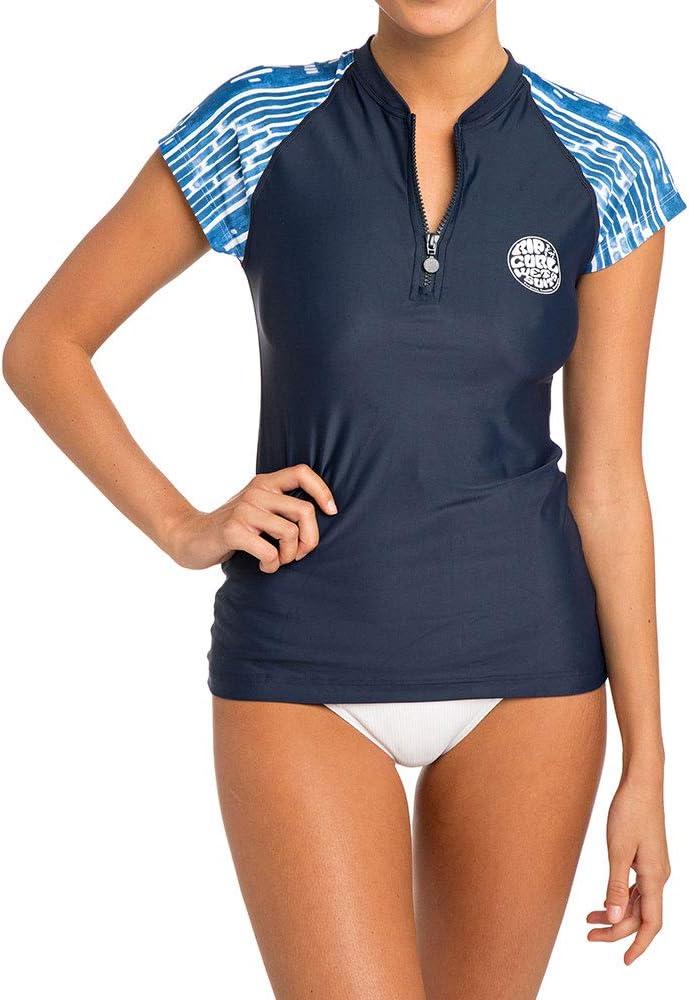 RIP CURL Womens Moontide Cap Sleeve Front Zip Rash Vest Blue ...