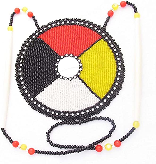 Lot of Three Long Handmade American Indian Leather and Multicolored Seed Bead Necklaces with Fringe