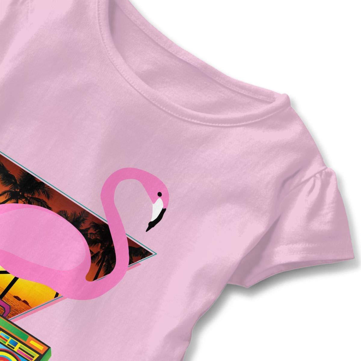 DJ Flamingo Radio Sunset Toddler Baby Girls Short Sleeve Ruffle T-Shirt