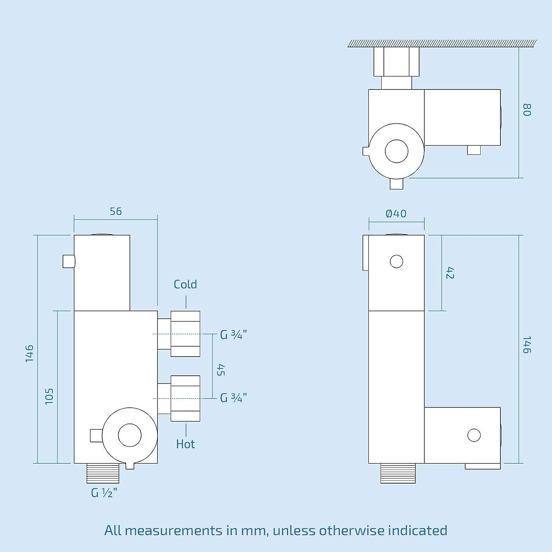 chrome Kit de douche Hansvit Dc82/rond thermostatique