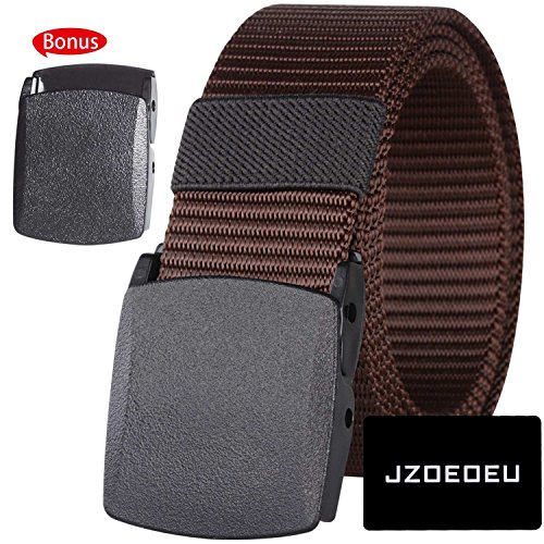 JZOEOEU Nylon Canvas Web Belt for Men Outdoor Sports Military Tactical Men's Belts Waistband With Automatic Buckle(Coffee)