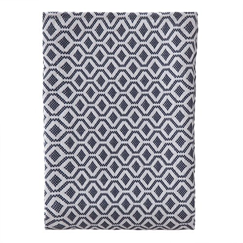 (URBANARA Viana Bedspread - 100% Cotton, Throw-Style Coverlet Blanket with Geometric Diamond Pattern - Soft, Breathable for Cool and Warm Nights - Quilt for King Size Bed - 104 x 108, Blue Grey/White)