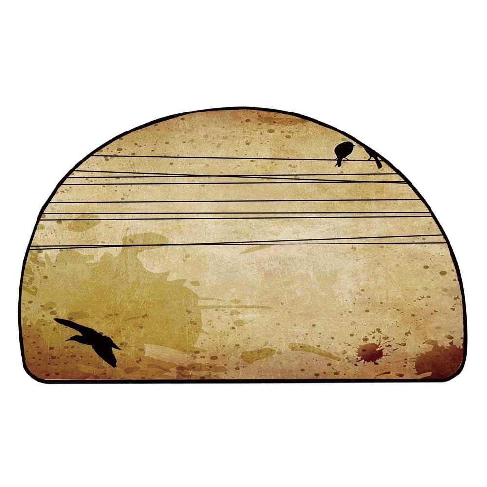 C COABALLA Birds Comfortable Semicircle Mat,Cables and Birds Image on Vintage Paper Style Background with Paint Stains Pattern Print for Living Room,11.8'' H x 23.6'' L