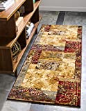 Unique Loom Barista Collection Abstract Modern Rustic Warm Beige Runner Rug (2′ x 6′)