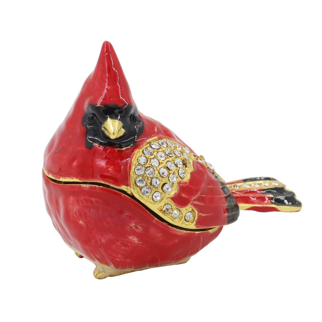 MICG Bird Trinket Box Spoontiques Cardinal Metal Enameled Animal Figurine Collectable Wedding Jewelry Ring Holder Organizer (Red)