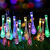 Uping Solar powered LED Fairy Lights 8 Mode String light 30 water drop 6.5M multi color waterproof for Indoor Outdoor Party Garden Christmas Halloween Wedding Home Bedroom Yard Deck Decora