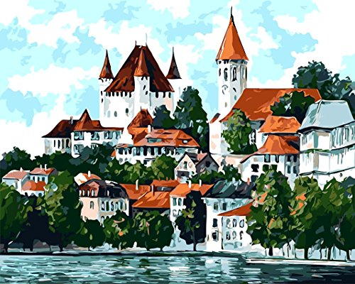 Paint by Numbers Diy Painting,Paint by Number Kit fj0007-landscape Castle Beside Lake Frameless 16