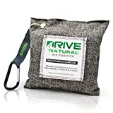 DRIVE Natural Car Air Freshener (Gray) - Best Auto Purifier is Certified Moso Bamboo Activated Charcoal 220g - Unscented Deodorizer, Drying Bag Removes Allergens & Moisture - Prevents Bacteria, Mildew