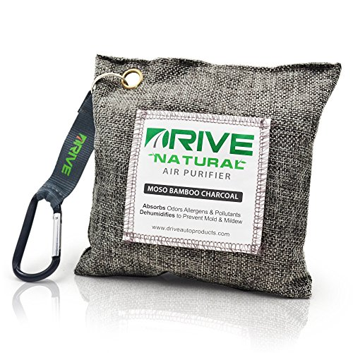 DRIVE Natural Car Air Freshener (Gray) - Best Auto Purifier is Certified Moso Bamboo Activated Charcoal 200g - Unscented Deodorizer, Drying Bag Removes Allergens & Moisture - Prevents Bacteria, Mildew