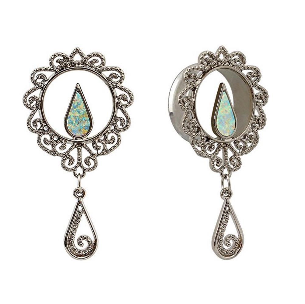Bigbabybig Dangle Ear Plugs 14mm Tunnels Gauges Body Piercing Jewelry for Women Opal Stainless Steel Screw