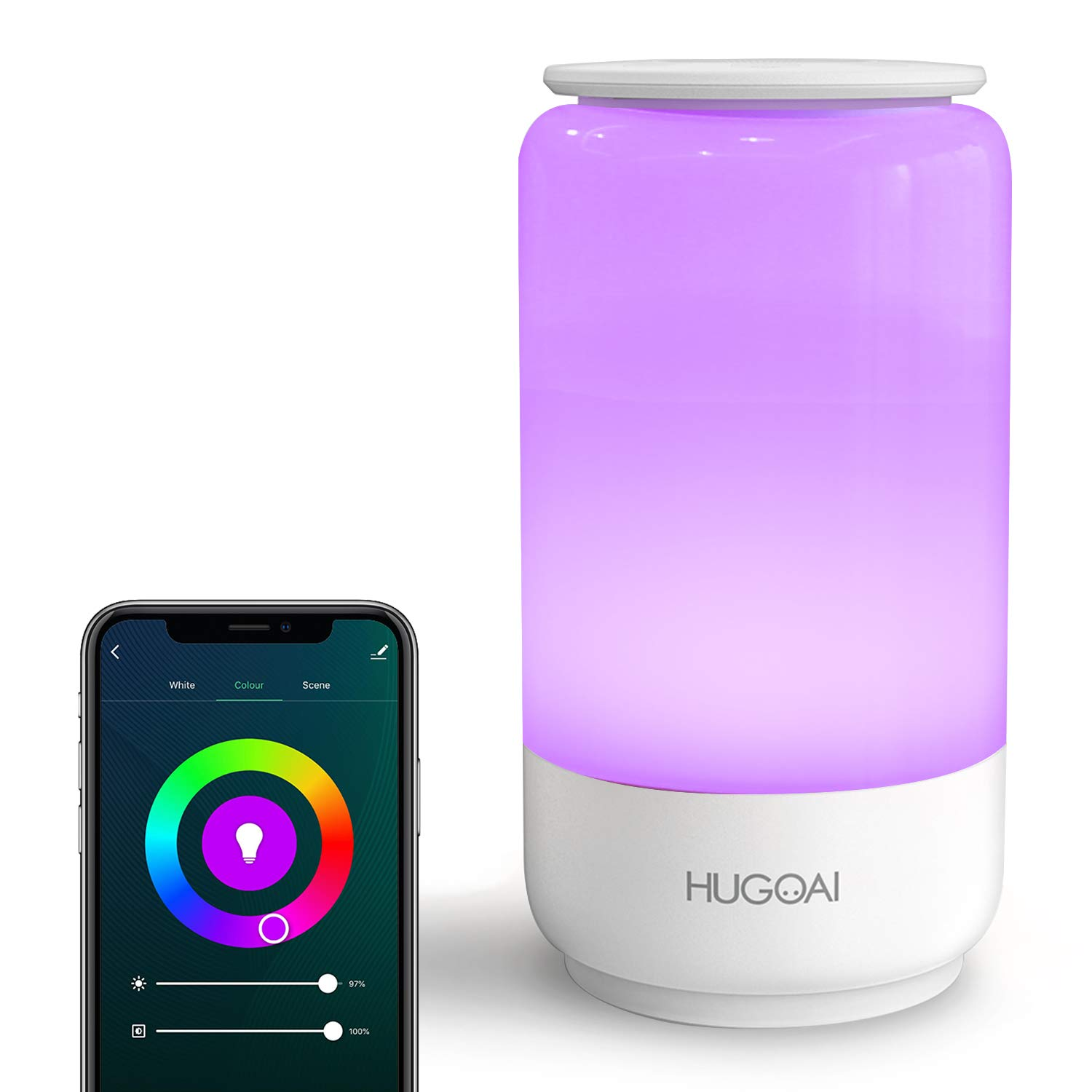 Smart LED Table Lamp, HUGOAI Dimmable Bedside Lamp, Night Light for Bedroom, Remote Control and Easy Wi-Fi Connection, Alexa and Google Assistant Compatible - White