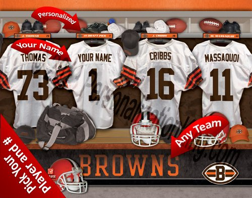 Nfl Browns Room Locker (Cleveland Browns Team Locker Room Clubhouse Personlized Officially Licensed NFL Photo Print)