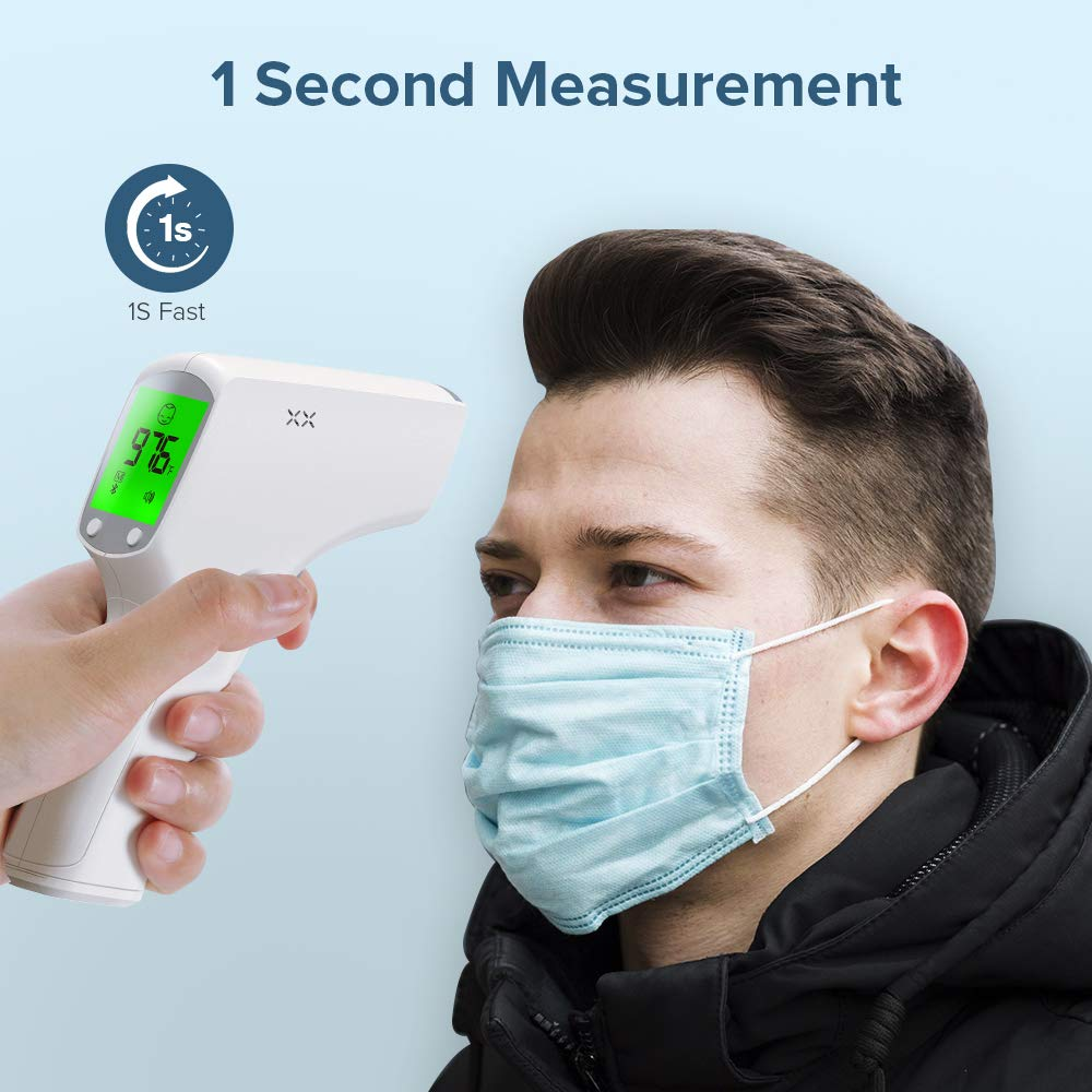 Instant Infrared Forehead for Adults Baby Temperature Non Contact 1s Fast Reading with Body Object Ambient Mode Fever Alarm 20 Times Memories Scanner Humans Body Head LCD Display Temporal Laser