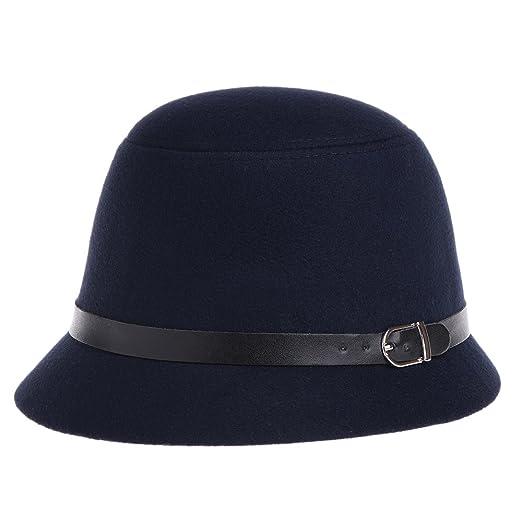 Amazon.com  VBIGER Women Woolen Fedora Bowler Hat (Dark Blue)  Clothing 2ec649e2d61