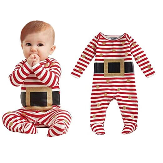 7296c177bf61 Amazon.com  Newborn Infant Baby Boys Striped Christmas Romper ...