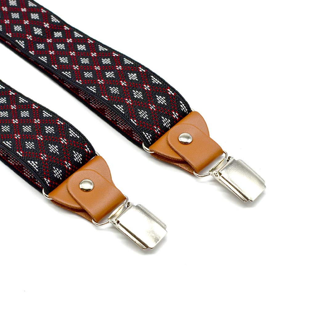SupSuspen Mens Y Shape 3 Leather Clips Suspenders 1.4 In Width Heavy Duty Braces