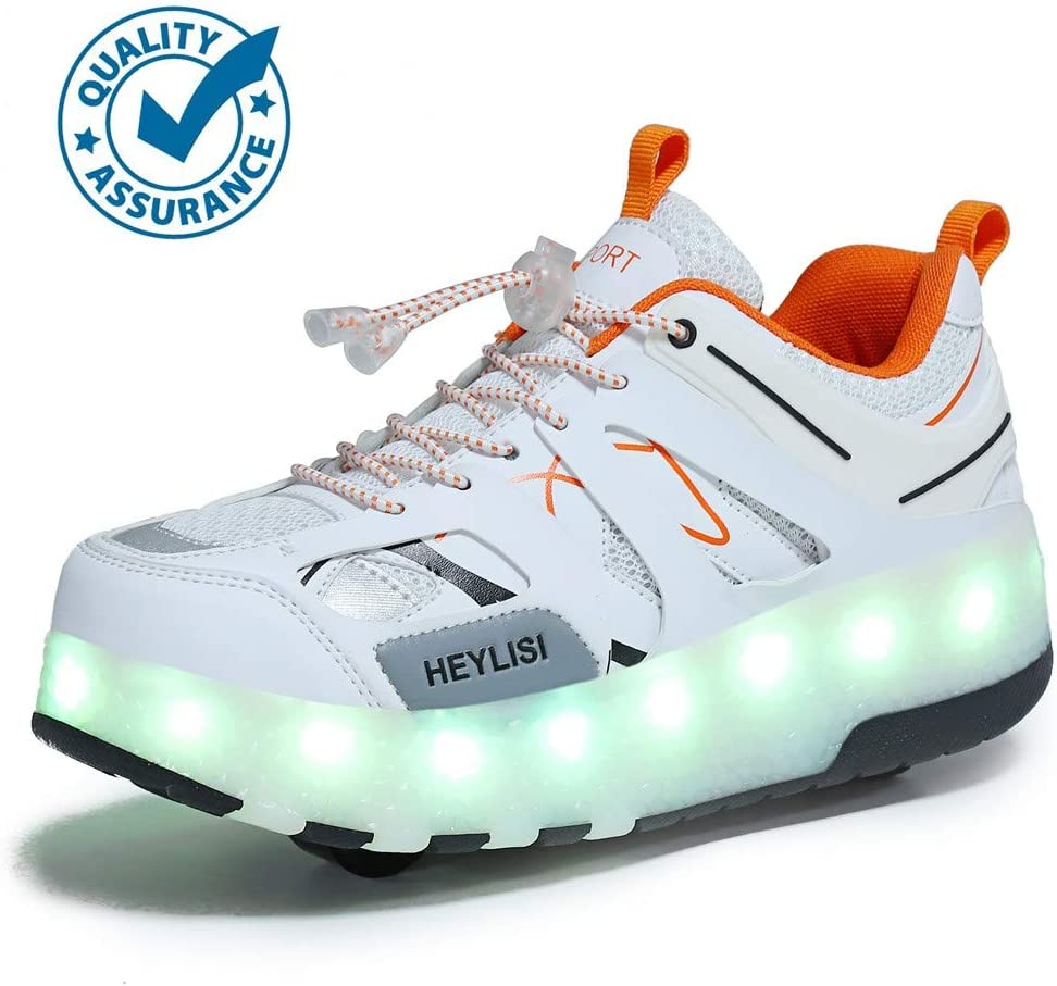 WXBXIEJIA USB Recargable LED Luz Moda Aire Libre Parpadea Ajustable Rueda Roller Automática De Skate Zapatillas con Ruedas Zapatos Patines Deportes Sneakers Running Shoes para Unisex 28-40White-31: Amazon.es: Hogar
