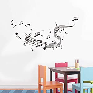 Music Notes Notation Band Wall Sticker Decal, Removable DIY Vinyl Art Mural Wallpaper Home Decor for Kids Bedroom Music & Dance Room Decorations(53×27inch / Black)